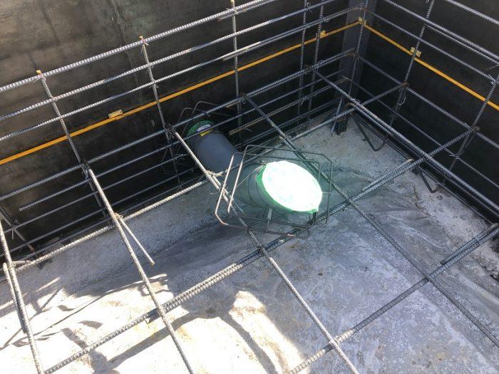 下水の配管を施工した様子